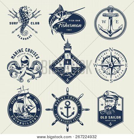 Vintage Monochrome Nautical Logos With Seahorse Crossed Poseidon Tridents Swordfish Anchor Octopus L