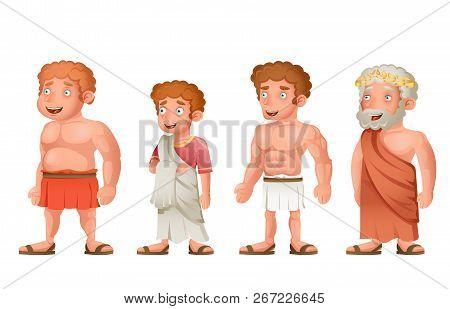 Roman Greek Old Young Strong Fat Toga Loincloth Characters Set Cartoon Design Vector Illustration