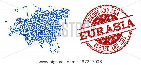Compositions Of Blue Map Of Europe And Asia And Red Grunge Stamp Seal. Mosaic Map Of Europe And Asia