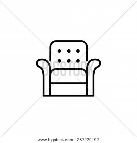 Black & White Vector Illustration Of Leather Armchair With High Back. Line Icon Of Arm Chair Seat. U
