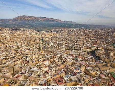 Aerial view of the old Medina in Fes, Morocco (Fes El Bali Medina) poster