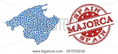 Compositions Of Blue Map Of Majorca And Red Grunge Stamp Seal. Mosaic Map Of Majorca Is Formed With