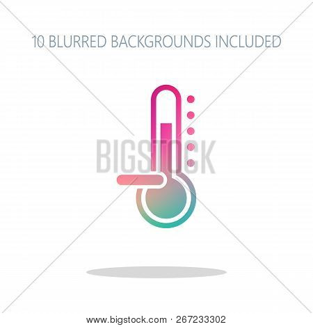 Thermometer, Cold. Subzero Temperature. Colorful Logo Concept With Simple Shadow On White. 10 Differ