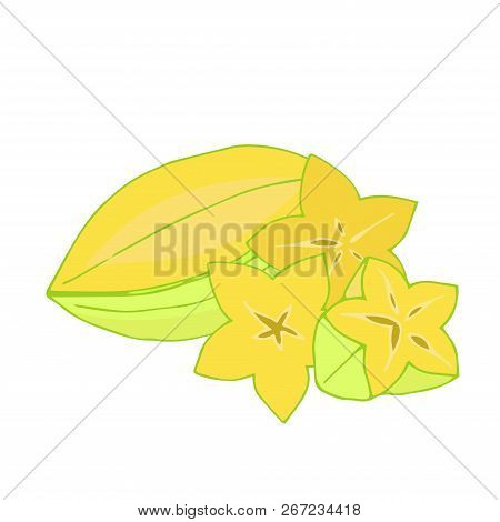 Whole Starfruit And Pieces On A White Background Vitamins