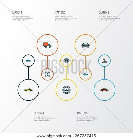 Auto Icons Colored Line Set With Crossover, Wheel, Car And Other Sport  Elements. Isolated Vector Il
