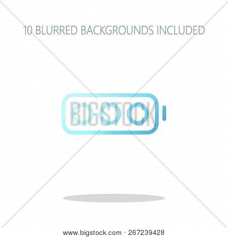 Simple Empty Battery, None Level. Colorful Logo Concept With Simple Shadow On White. 10 Different Bl