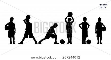 Full Length Of Young Basketball Players Silhouette Of Kids Collection. Full Body Of Child In Sportsw