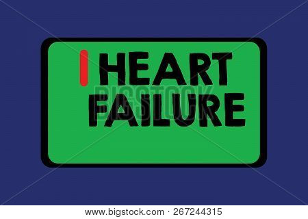 Conceptual Hand Writing Showing Heart Failure. Business Photo Text Failure Of The Heart To Function
