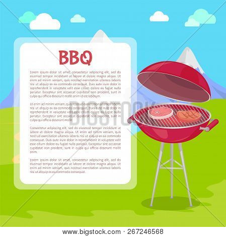 Bbq Poster With Text And Nature Vector. Grilling Grid With Roasting Meat Beefsteaks And Pork Slices.