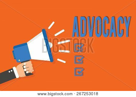 Word writing text Advocacy. Business concept for Profession of legal advocate Lawyer work Public recommendation Man holding megaphone loudspeaker orange background message speaking loud. poster