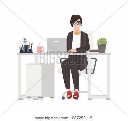 Smiling Woman Working At Office. Female Clerk Dressed In Smart Clothes Sitting In Chair At Desk With