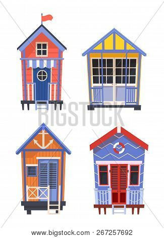 Lifeguard Bungalows Or Stations With Anchor And Lifebuoy, Ring Or Donut, Preserver And Lifebelt, Lif