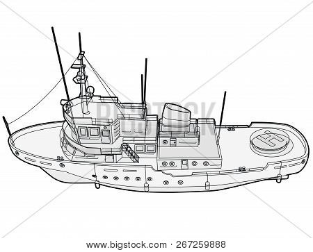 Research Ship, Marine Exploration Boat For Scientists. Outlined Rescue Vessel With Sonar, New Modern