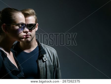 Trendy Eyeglasses. Friendship Relations. Fashion Models In Sun Glasses. Couple In Love. Couple Of Ma