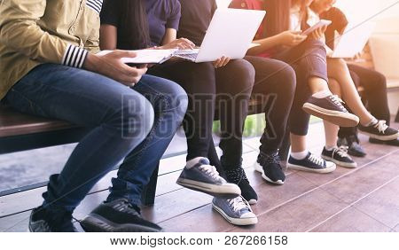 Back To School Education Knowledge College University Concept, Young People Being Used Computer And