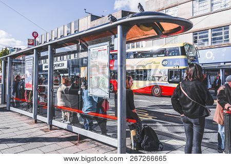Brighton And Hove East Sussex, England-12 October,2018: Main Bus Stop Station In Churchill Square Br