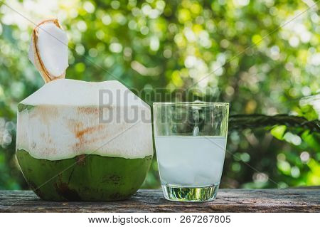 Fresh Organic Coconut Water With Coconut Leaves On Wooden Table.