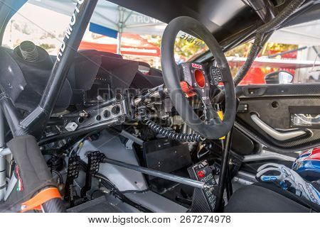 Buzet, Croatia - September 16, 2018: Cockpit Of A Sport Racing Car On European Hill Climb Championsh
