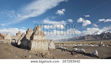 Buddhistic stupas (chorten) in the Himalayas, Ladakh, Jammu & Kashmir, India