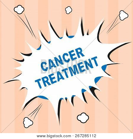 Text Sign Showing Cancer Treatment. Conceptual Photo Use Of Surgery, Radiation And Medications To Cu