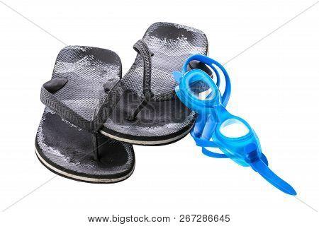 Old Black Worn Boy's Sea Slippers.