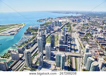 Aerial View Of Toronto Cityscape And Harbourfront Along Lake Ontario