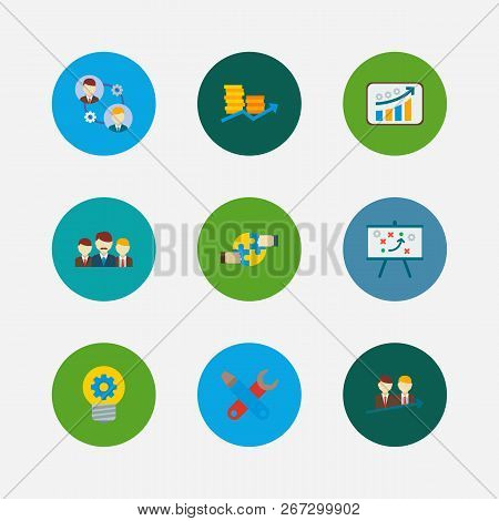 Partnership Icons Set. Teamwork And Partnership Icons With Cooperation, Successful Partnership And T