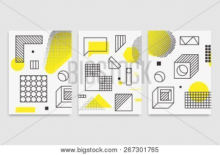 Set Universal Trend Posters  Linear Geometric Shapes