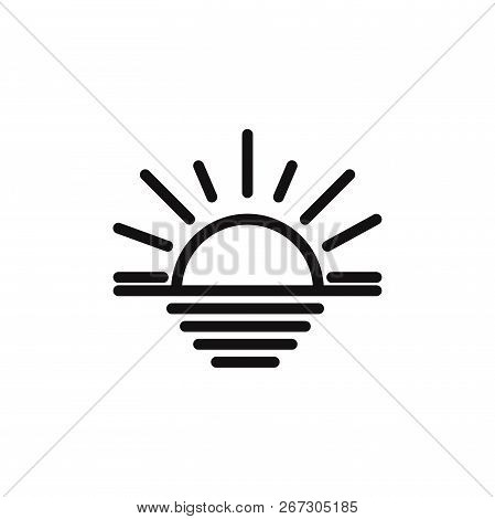 Sunset Icon Isolated On White Background. Sunset Icon In Trendy Design Style. Sunset Vector Icon Mod