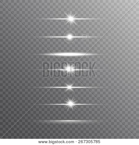 Glowing Line Set On Transparent Background. Shine Beams. Realistic Lens Flare Set. Flash With Rays A