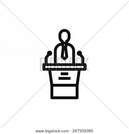 Speaker With Tribune Icon Isolated On White Background. Speaker With Tribune Icon In Trendy Design S