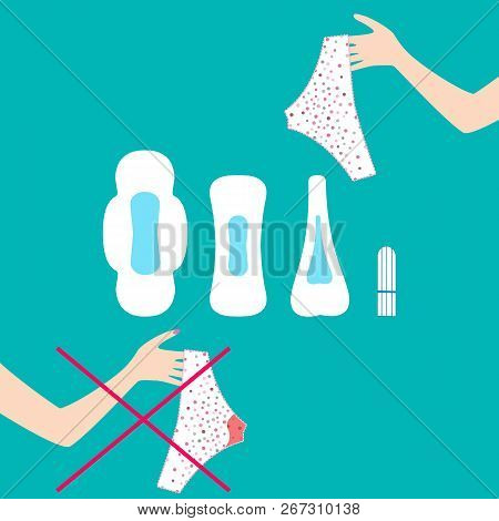 Vector Illustration Of Pants With Menstrual Blood Drops In Women Monthlies Period, Tampon And Pads.