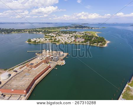 Aerial View Of Adams Shore Community And Shipyard Point In Boston Harbor In Quincy, Massachusetts, U