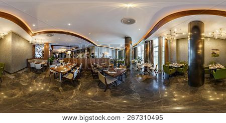 Minsk, Belarus - August, 2017: Full Seamless Panorama 360 Degrees Angle Inside Interior Of Banquet H