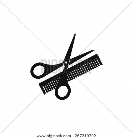 Scissors And Comb Icon Isolated On White Background. Scissors And Comb Icon In Trendy Design Style.