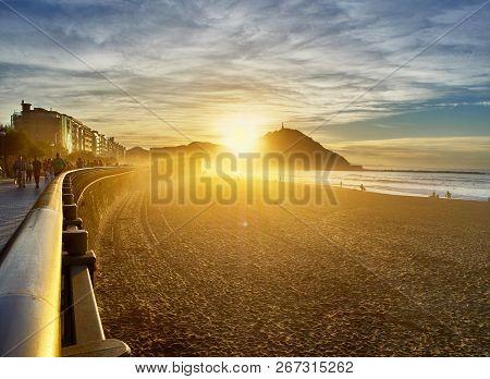 San Sebastian, Spain - October 12, 2018. The Sun Sets Behind The Monte Urgull Of San Sebastian, Basq