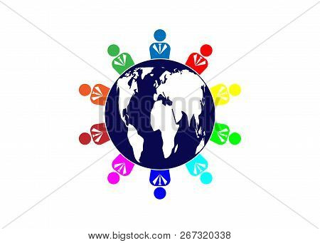 Team Ten People Logo And World Globe. Concept Of Group Of People Meeting Collaboration And Great Wor