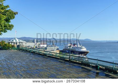 Quebec City, Canada - September 27, 2018: View Of The Dufferin Terrace, The Lower Town And The Saint