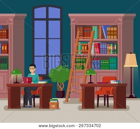 Education Library With Books Or University Athenaeum With Bookshelves And Stairs, Atheneum With Man