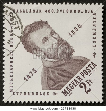 HUNGARY - CIRCA 1964: a stamp printed in Hungary celebrates the forth centenary of Michelangelo death's, the famous artist of italian renaissance. Hungary, circa 1964