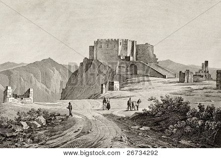 An old engraving of Erice mount and castle, near Trapani, Sicily, Italy. May be dated to the alf of 19th c.