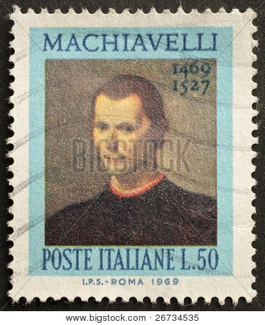 ITALY - CIRCA 1969: a stamp printed in Italy celebrates the fifth centenary of Nicolò Machiavelli's birth, the famous italian political philosopher. Italy, circa 1969