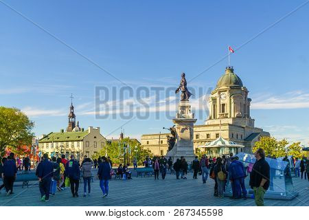 Quebec City, Canada - September 27, 2018: Scene Of The Dufferin Terrace And The Armes Square (place