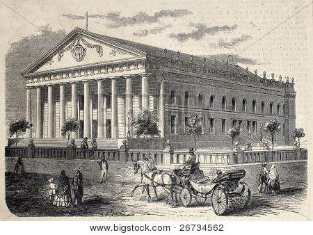 De Carrera theater (later rebaptized Colon, then demolished in 1924), Guatemala. From drawing of Gaildrau, after photo of M. Fitz Gibbon, published on L'Illustration, Journal Universel, Paris, 1860 poster