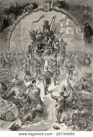 Antique illustration shows allegoric representation of the Parisian Octroi, a local tax financing public works. Drawing by M Ferat, was published on