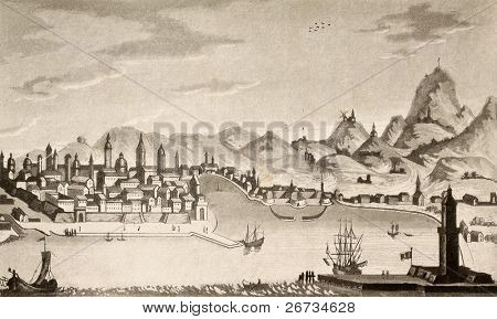 Antique illustration of Palermo city. The original design was created by Francesco Gandini and was published in 1830 on the book
