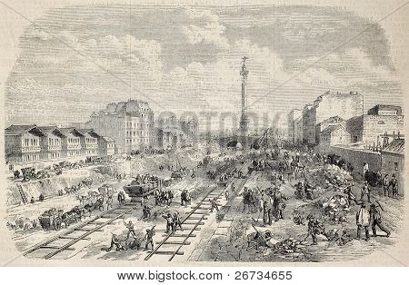Antique illustration shows lowering works of Canal Saint Martin, in Paris. Original, from drawing of Provost, was published on L'Illustration, Journal Universel, Paris, 1860