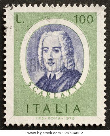 ITALY - CIRCA 1975: a stamp printed in Italy shows image of Alessandro Scarlatti, the famous italian opera composer. Italy, circa 1975