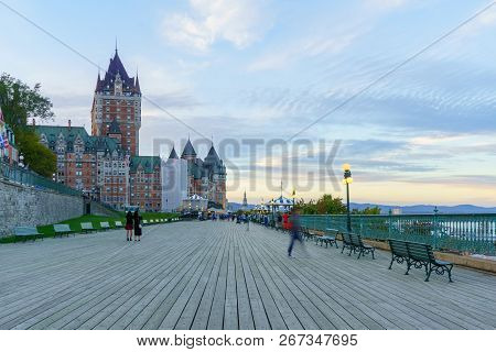 Quebec City, Canada - September 27, 2018: Sunset Scene Of The Dufferin Terrace And The Chateau Front