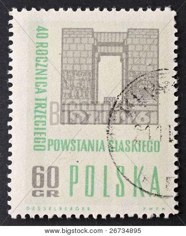 POLAND - CIRCA 1961: a stamp printed in Poland celebrates fortieth anniversary of third Silesia uprising against German rule. Poland, circa 1961